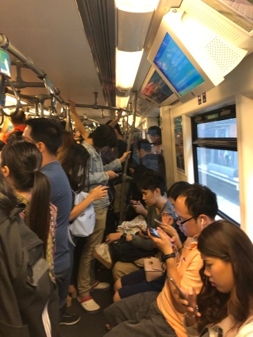 very crowded train