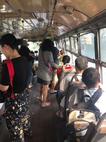 very crowded bus